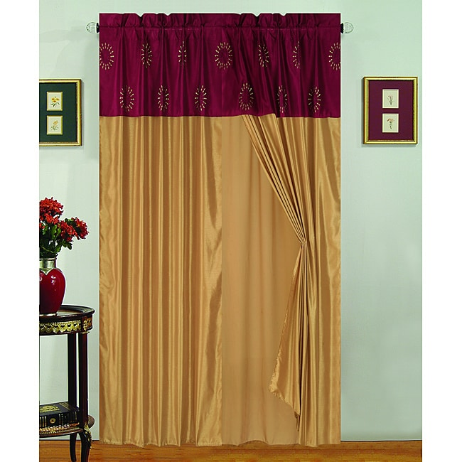 Starburst 84-inch Maroon Red/ Gold Polyester Window Panel and Valance (Set of 2)