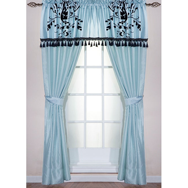 Nobilty Blue/Black Polyester 84-inch Window Curtain with Valance Panel Pair