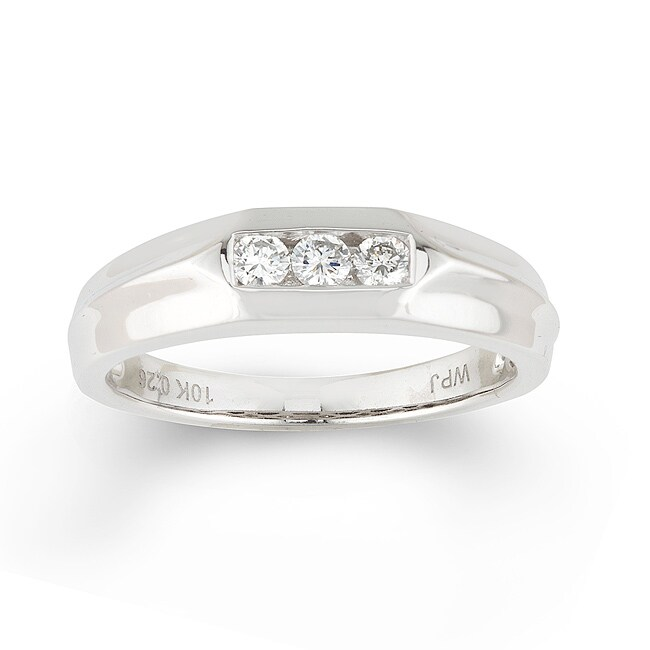 10k White Gold Men's 1/4ct TDW Round Diamond Ring (H-I, I1-I2)