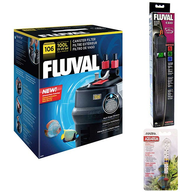 Fluval 106 Canister Filter With E 200 Heater and Thermometer