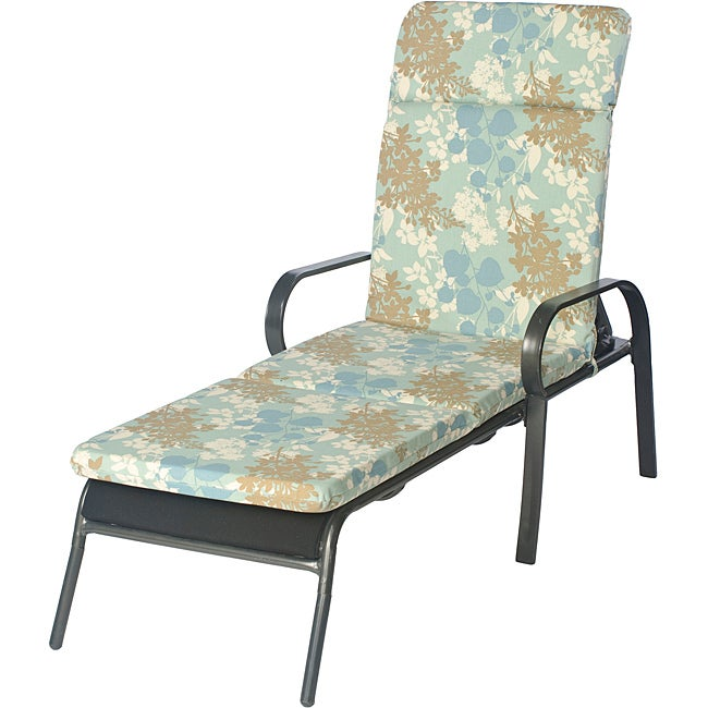 Overstock.com Ali Patio Outdoor Smooth Edge Blue Floral Chaise Lounge Chair Cushion at Sears.com