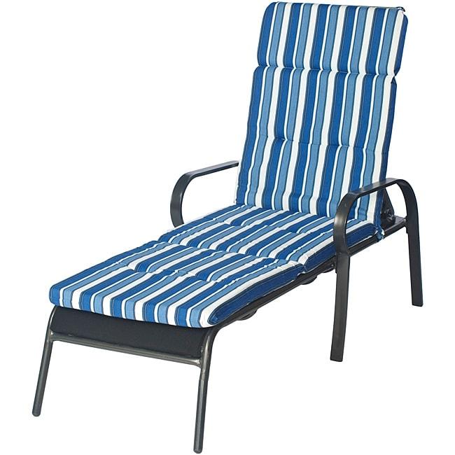 Ali Patio Outdoor Blue Stripe Tufted Chaise Lounge Cushion