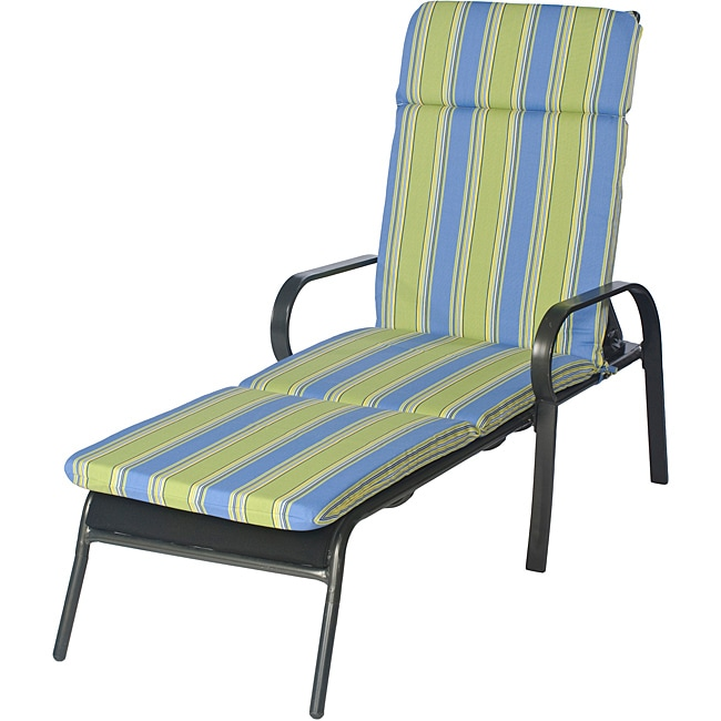 Overstock.com Ali Patio Outdoor Smooth Edge Blue Chaise Lounge Cushion at Sears.com