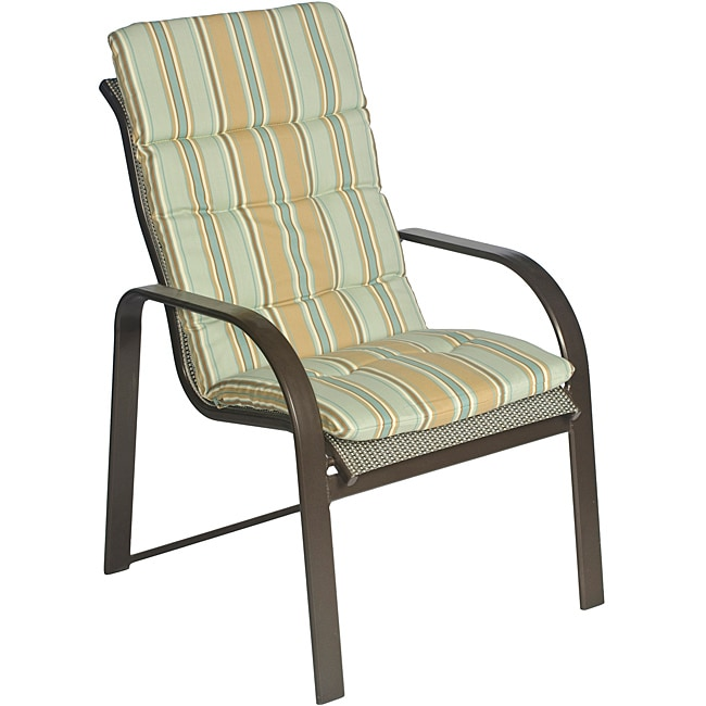 Overstock.com Ali Patio Polyester Blue Stripe Tufted Hi-back Outdoor Arm Chair Cushion at Sears.com