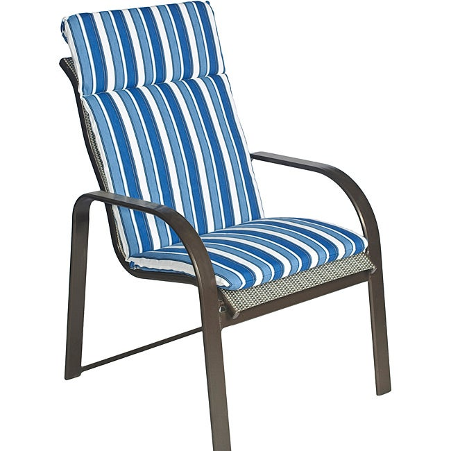 Overstock.com Ali Patio Polyester Navy Blue Stripe Smooth Edge Hi-back Outdoor Arm Chair Cushion at Sears.com