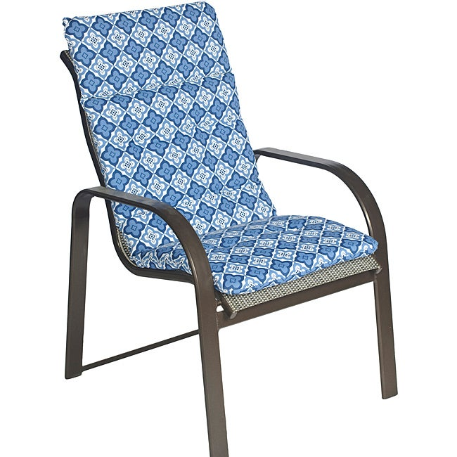 Overstock.com Ali Patio Polyester Navy Blue Tile Tufted Hi-back Outdoor Arm Chair Cushion at Sears.com