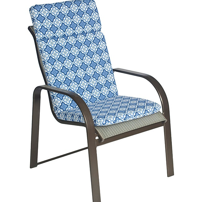 Overstock.com Ali Patio Polyester Navy Blue Tile Smooth Edge Hi-back Outdoor Arm Chair Cushion at Sears.com