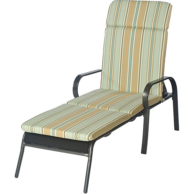Overstock.com Ali Patio Polyester Steel Blue Stripe Smooth Edge Hi-back Outdoor Chaise Lounge Cushion at Sears.com