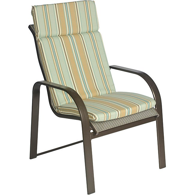 Overstock.com Ali Patio Polyester Steel Blue Stripe Smooth Edge Hi-back Outdoor Arm Chair Cushion at Sears.com