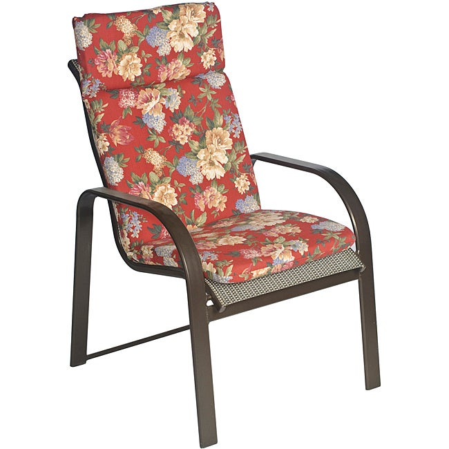 Overstock.com Ali Patio Polyester Crimson Red Floral Smooth Edge Hi-back Outdoor Arm Chair Cushion at Sears.com
