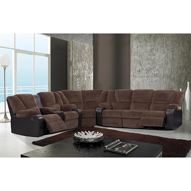 Austin Brown Microfiber Reclining Sectional Sofa