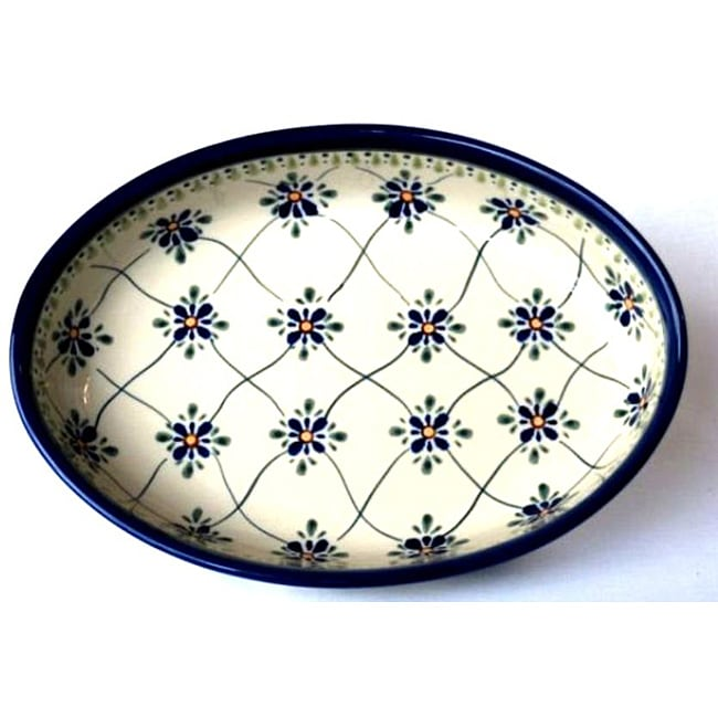 Hand-painted 11-inch Stoneware Oval Baker Dish (Poland)
