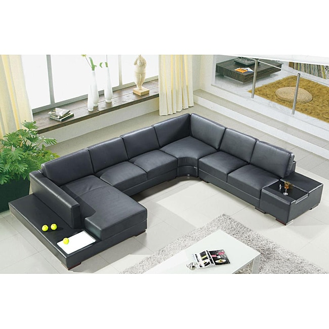Artistant House 4 Piece Black Leather Sectional 14118614