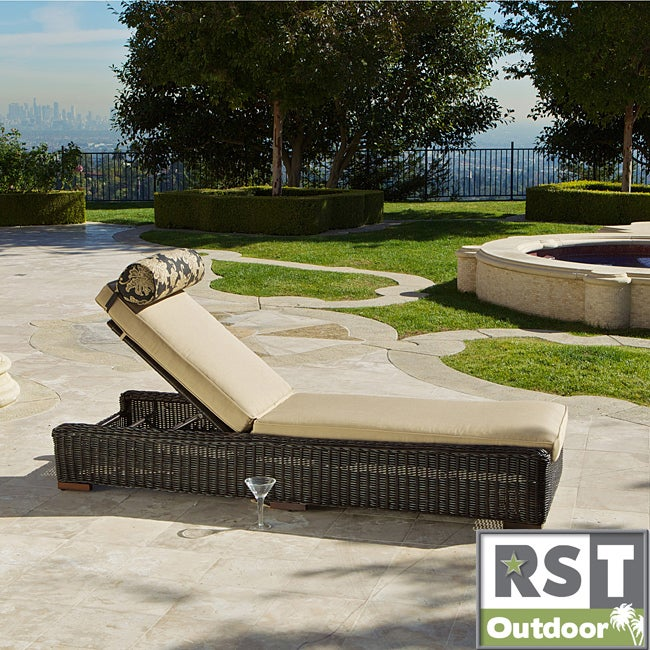 RST Resort Collection Espresso Rattan Patio Chaise Lounger