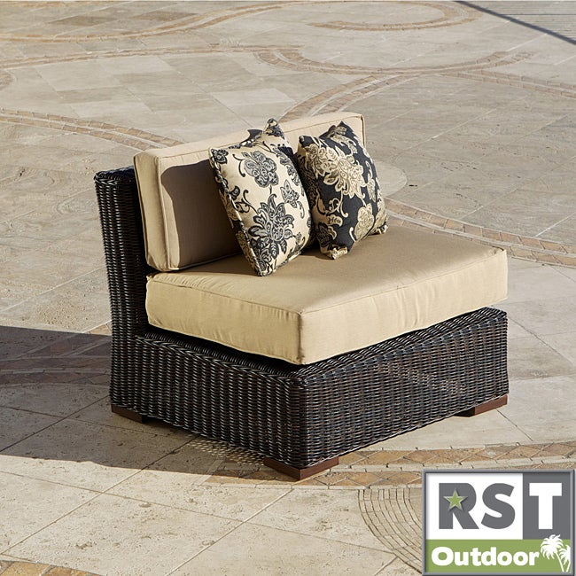 RST Resort Collection Espresso 36-inch Rattan Modular Armless Patio Chair