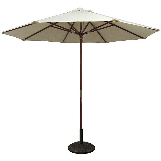 Lauren & Company Natural White Leather Tip Market Umbrella with 50-pound Stand