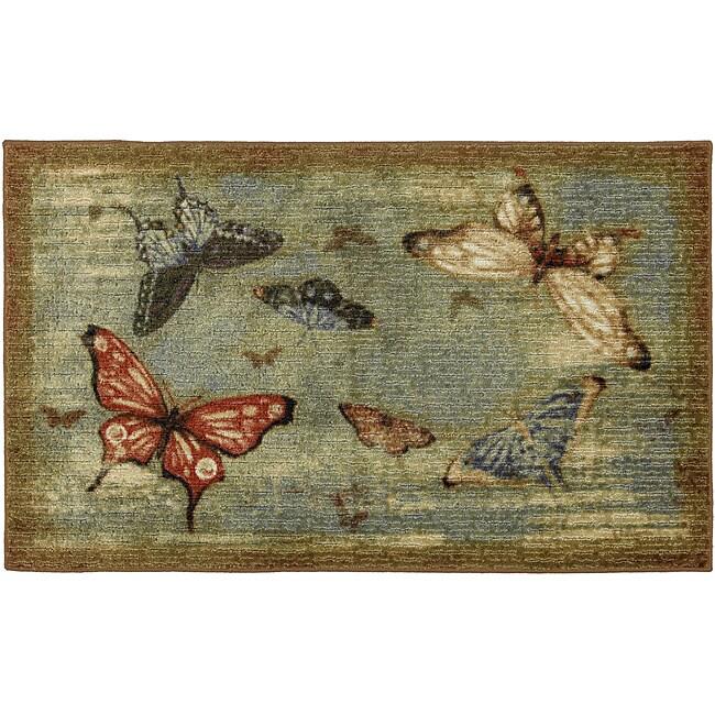 Vintage Butterflies Blue Spa Rug (2'6 x 4'2)
