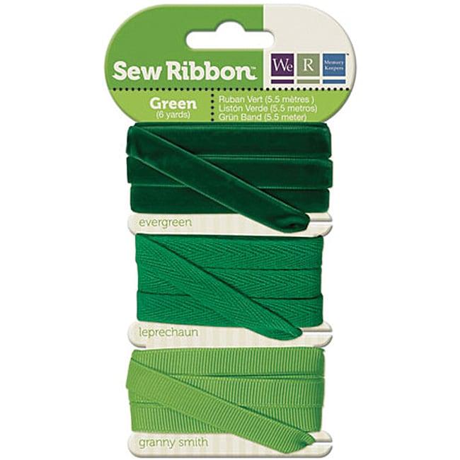 Sew Ribbon Green Ribbon (Pack of 3)