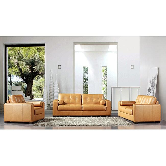 Sabbia Italian Top Grain Leather 3-piece Sofa Set