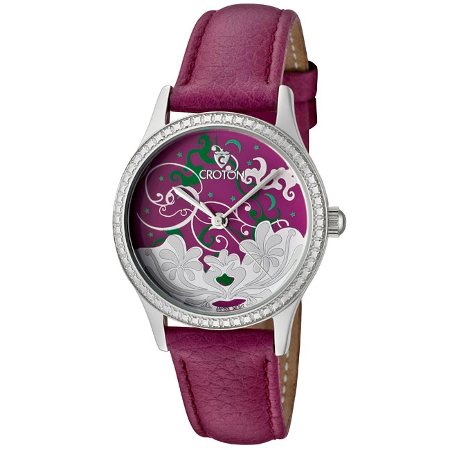 Croton Women's 'Tropics' Purple Genuine Leather Watch