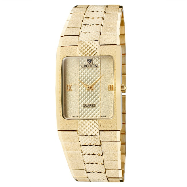 Croton Men's 'Croton' Textured Goldtone Brass Watch