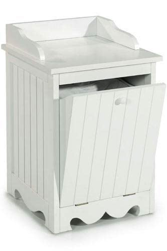 Everette White Beadboard Single Tilt-Out Hamper