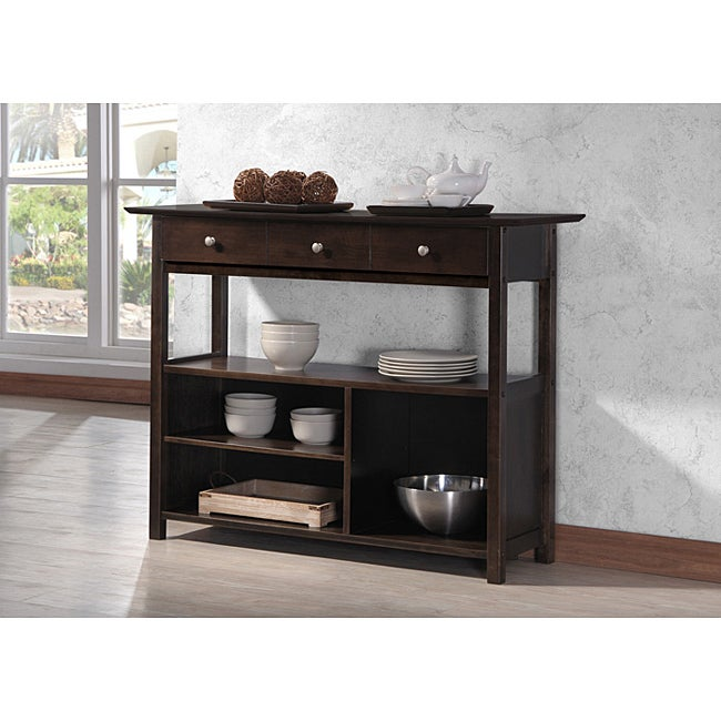 Three-Drawer Cappuccino Console Sofa Table Shelf