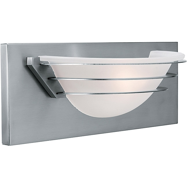 Saturn Brushed Steel Frosted Glass Wall and Vanity Light