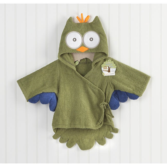 Baby Aspen My Little Night Owl Hooded Terry Spa Robe in Green