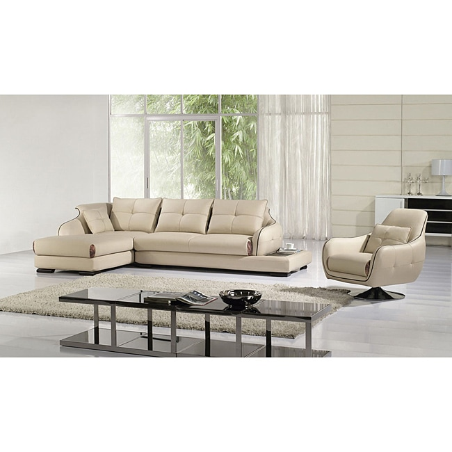 Furniture of America Pacey 3-Piece Sectional with Chaise and Chair Set
