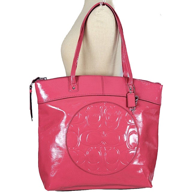 Coach 'Laura' Pink Patent Leather Circle Tote