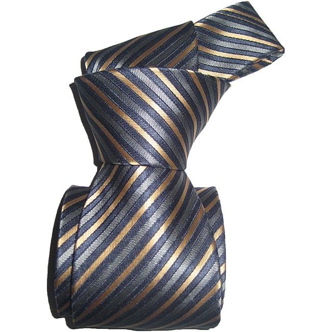 Dmitry Men's Navy Striped Italian Silk Tie