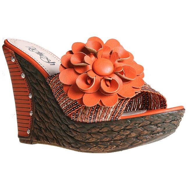 Refresh by Beston Women's 'BOBI-02' Orange Platform Wedges