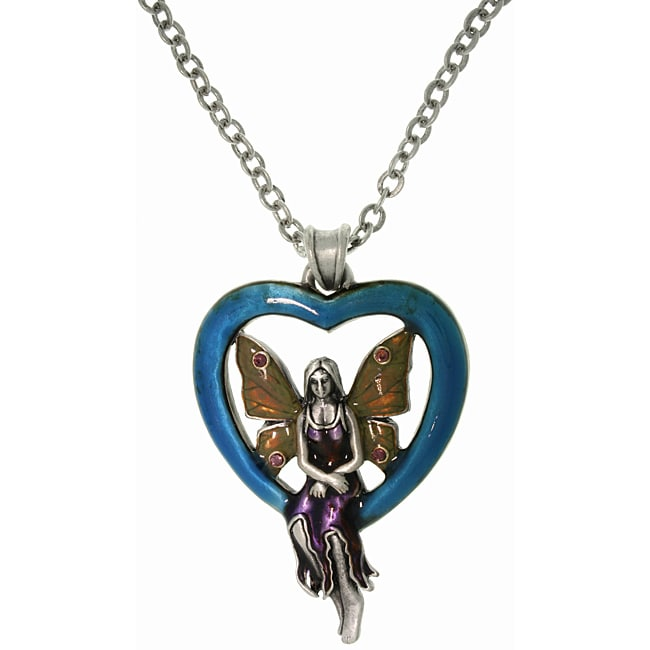 CGC Pewter Blue Heart Fairy Necklace