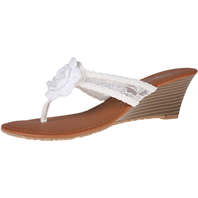 Refresh by Beston Women's 'Taylor-07' White Lace Sandals