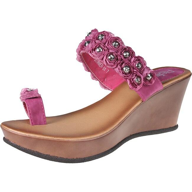 Refresh by Beston Women's 'Summer-01' Fuchsia Wedge Sandals