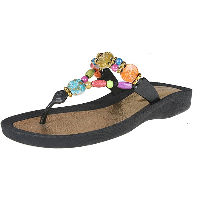 Refresh by Beston Women's 'Carmel-01' Black Beaded Sandals