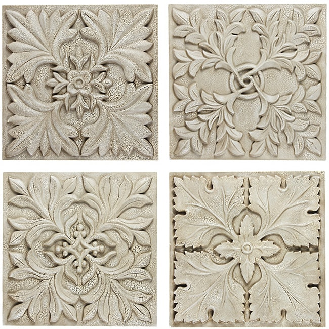 Fleur Wall Decor Hanging Plaque (Set of 4)