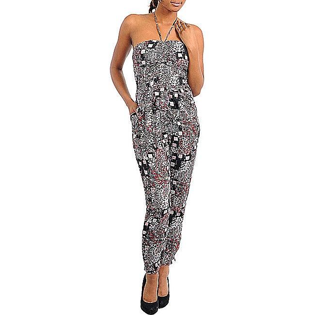 Stanzino Women's Black / Pink Abstract-print Jumpsuit