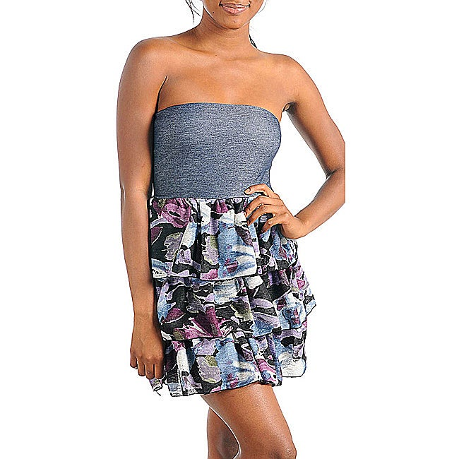 Stanzino Women's Stretch Denim Tube Top Ruffled Purple Floral Dress