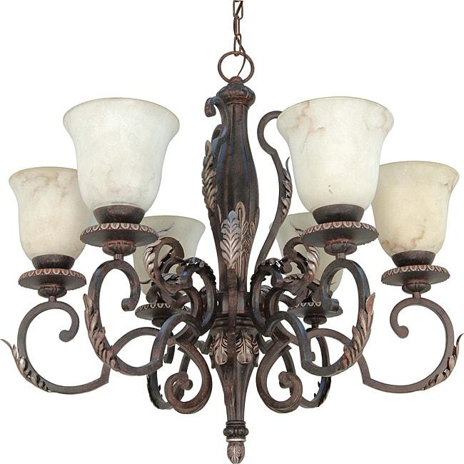 Cipriani Chandelier 6-light Garnet Bronze Finish with Marbleized Glass