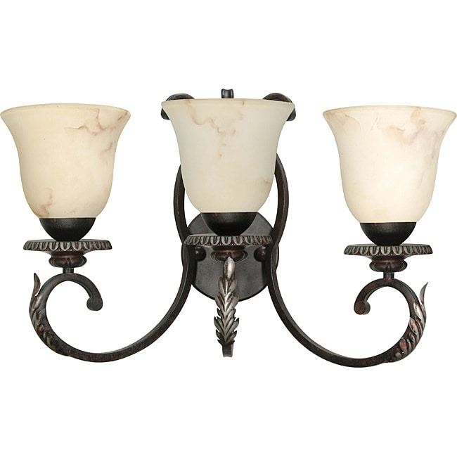 Cipriani Vanity and Wall 3-light Garnet Bronze Finish with Marbleized Glass