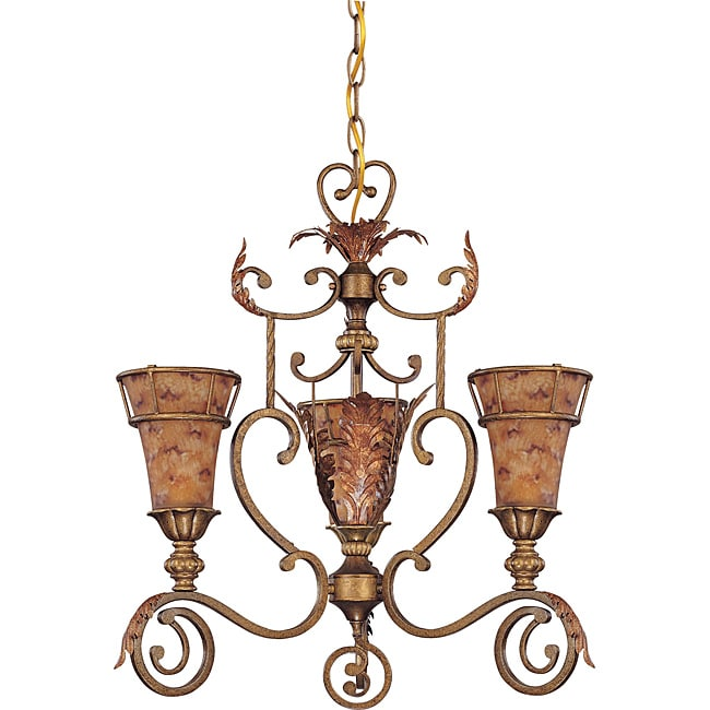 Marmount Chandelier 3-light Antique Gold Finish with Art Nouveau Glass