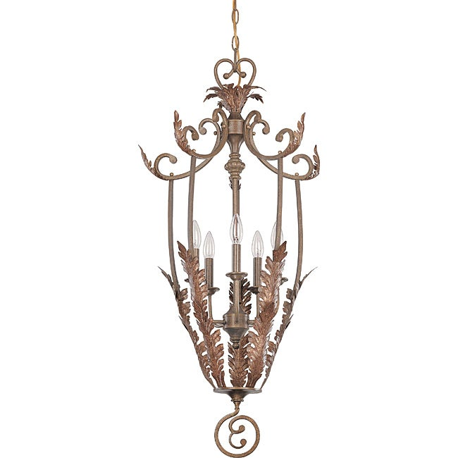 Marmount Pendant 5-light Antique Gold Finish with Art Nouveau Glass