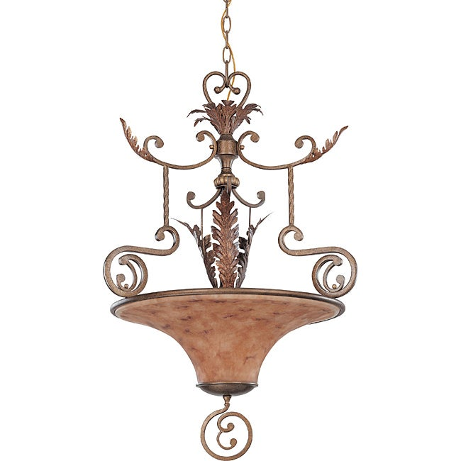 Marmount Pendant 3-light Antique Gold Finish with Art Nouveau Glass