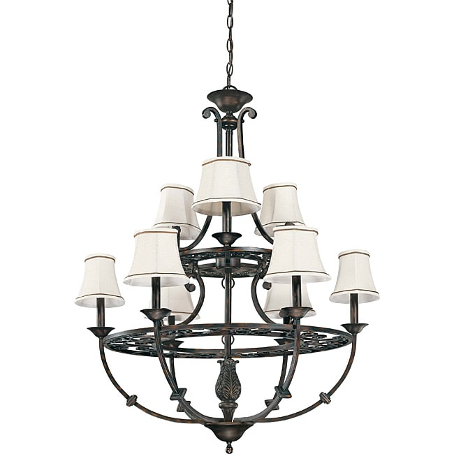Pickford Chandelier 9-light Distressed Bronze Finish with Natural Linen Shades