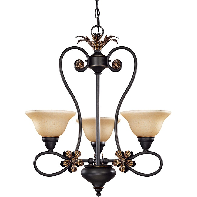 Francesca Chandelier 3-light Rustic Bronze Finish with Tangerine Peel Glass