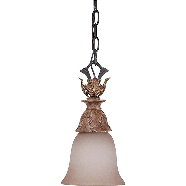 Verdone Mini-pendant Gilded Cage Finish with Amber Bisque Glass