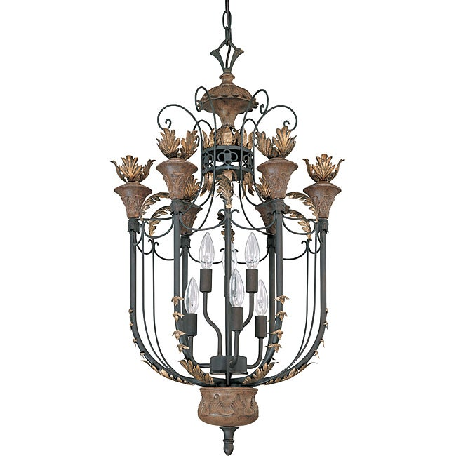 Verdone Pendant 6-light Gilded Cage Finish