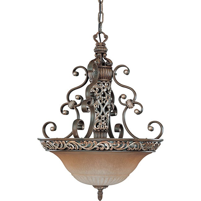 Palermo Pendant 3-light Cappuccino Finish with Amaretto Glass